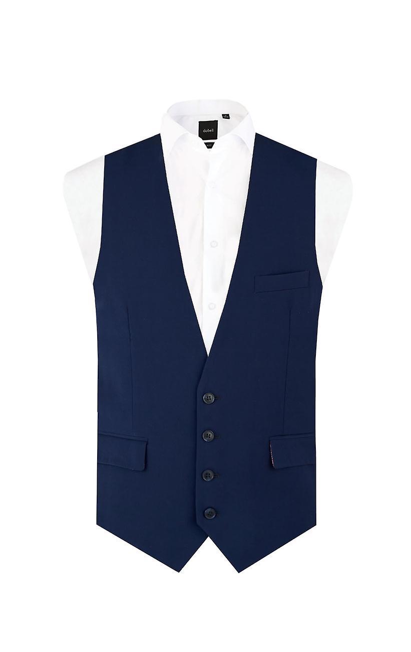 Dobell Mens Dark Blue Waistcoat Slim Fit 4 Button