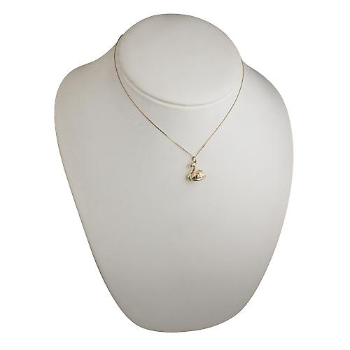 9ct Gold 14x16mm solid Swimming Swan Pendant with a curb Chain 16 inches Only Suitable for Children