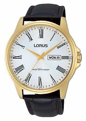 Lorus Mens Brown Leather Strap Day Date RXN10DX9 Watch