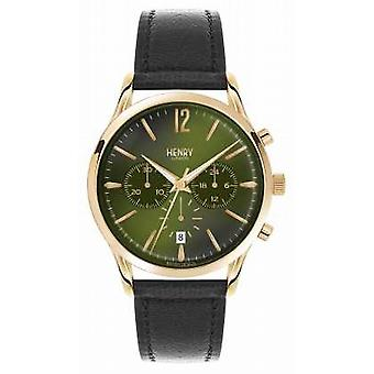 Henry London Chiswick Black Leather Strap Chronograph HL41-CS-0106 Watch