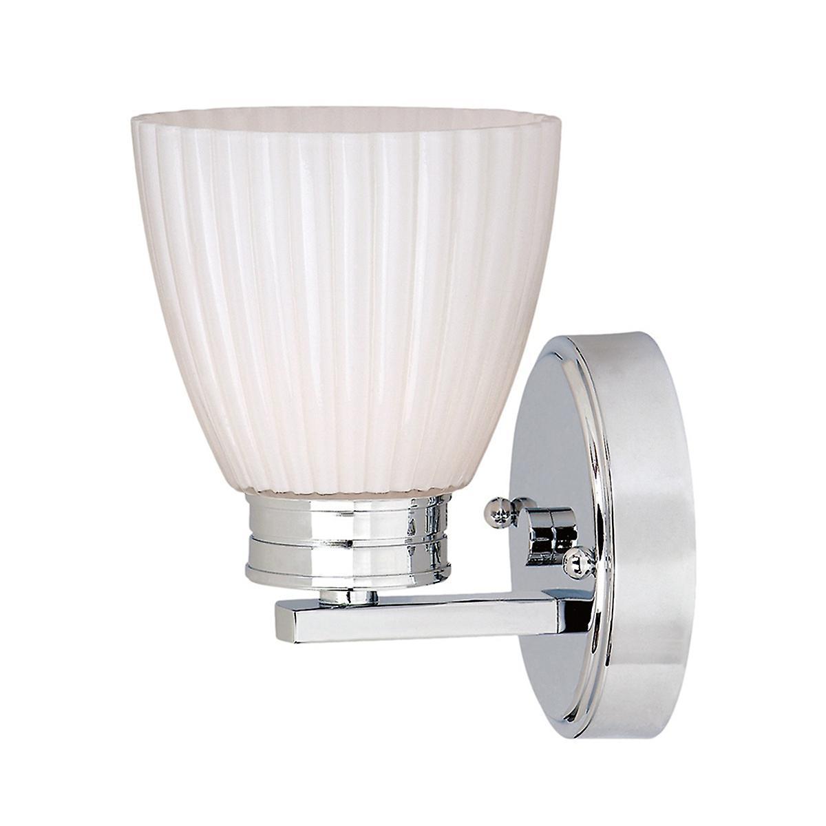Elstead BATH/WL1 Wallingford Modern Single Bathroom Wall Light with White Glass