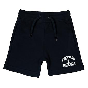 Junior Boys Franklin And Marshall Fleece Logo Jog Shorts In Navy- Ribbed