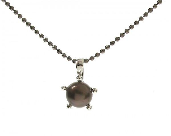Cavendish French Sterling Silver and Black Pearl Pendant
