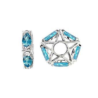 Storywheels Silver & Swiss Blue Topaz Star Wheel Charm S046S