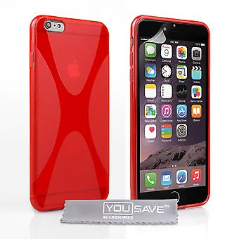 YouSave Accessories iPhone 6 Plus and 6s Plus Silicone Gel XLine Case Red
