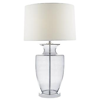 Honor Table Lamp Smoked Glass C/w Ivory Linen Shade
