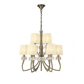 Mantra Loewe 2 Tier Pendant 6+3 Light E14, Antique Brass With Cream Shades
