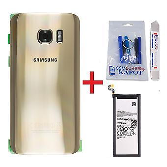 For Samsung Galaxy S7 Edge back cover + battery-gold