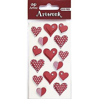 Red Love Hearts Craft Embellishment By Artoz