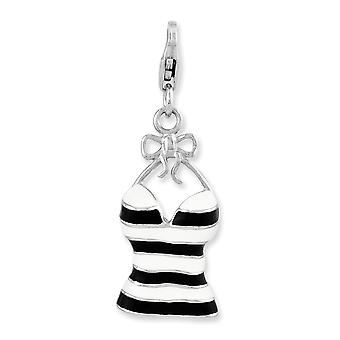 925 Sterling Silver Fancy Lobster Closure Enameled 3-d Tank Top With Lobster Clasp Charm - 2,7 Grammes