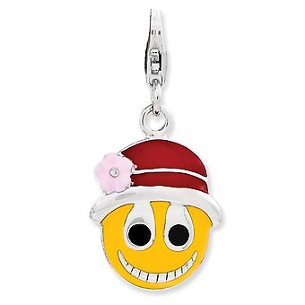 925 Sterling Silver Rhodium-plated Fancy Lobster Closure Enameled Face With Flower Hat W Lobster Clasp Charm