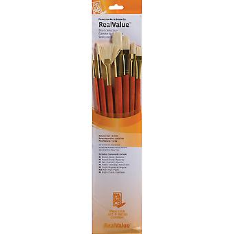 Real Value Brush Set Natural Bristle Rnd 2,6,Brt 6,Flb 8,Fan 6,Flat 10,Ang 6 P9154