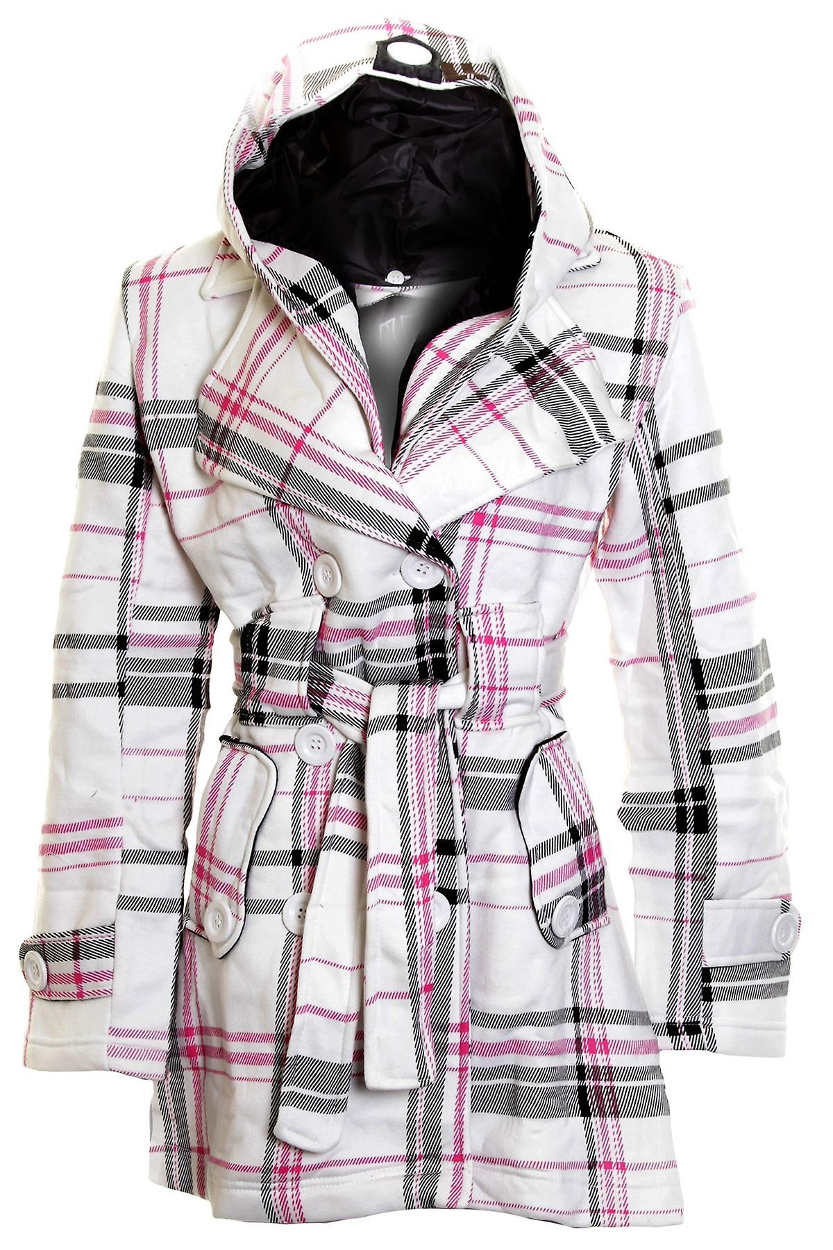 New Ladies Long Belted Button Hooded Duffle Jacket Womens Coat