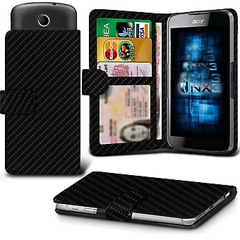ONX3 HP Elite X3 Leather Universal Spring Clamp Wallet Case With Card Slot Holder and Banknotes Pocket-Carbon Black