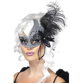 Smiffys Masquerade Dark Angel Eyemask With Tie Sides & Feathers (Costumes)