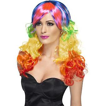 Smiffys Rainbow Curl Wig Multi-Coloured Long With Fringe (Costumes)