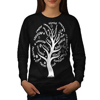 Tree Friend Life Nature Women Black Sweatshirt | Wellcoda
