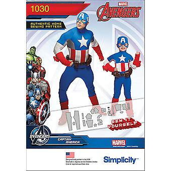 SIMPLICITY BOYS' AND MEN'S CAPTAIN AMERICA COSTUME-3 - 8 / S - XL US1030A