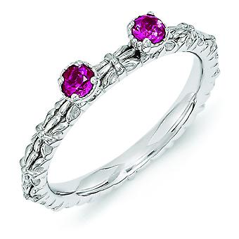 2.5mm Sterling Silver Stackable Expressions Created Ruby Two Stone Ring - Ring Size: 5 to 10
