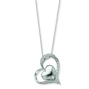 Sterling Silver Polished Gift Boxed Spring Ring Rhodium-plated Cubic Zirconia Heart Necklace - 18 Inch