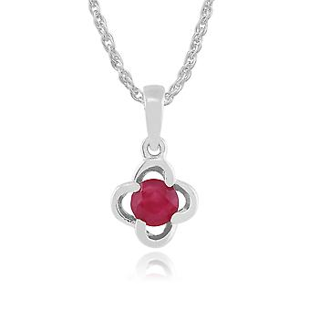 Gemondo 9ct White Gold 0.27ct Ruby Floral Pendant on 45cm Chain