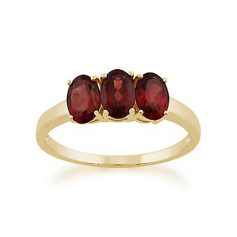 Gemondo 9ct Yellow Gold 1.66ct Mozambique Garnet Trilogy Ring