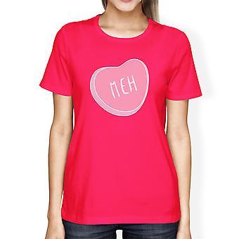 Meh Women's Hot Pink T-shirt Cute Heart-Shaped Gift Ideas For Her