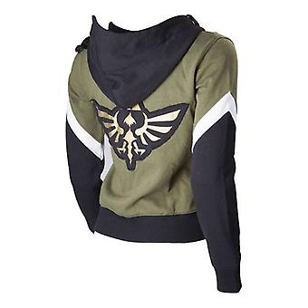 Nintendo Legend of Zelda Female Royal Crest Full Length Zip Hoodie Medium Green/Black (HD250619NTN-M)