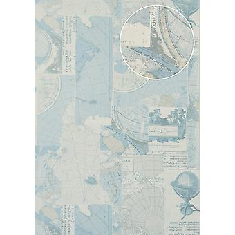 Graphic wallpaper Atlas SIG-685-2 non-woven wallpaper smooth maritime design shimmering grey perl white light blue beige 7,035 m2