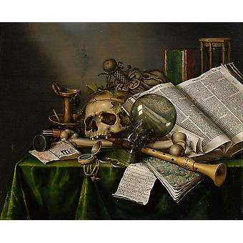 Edwaert Collier - Books and Manuscripts and a Skull Poster Print Giclee