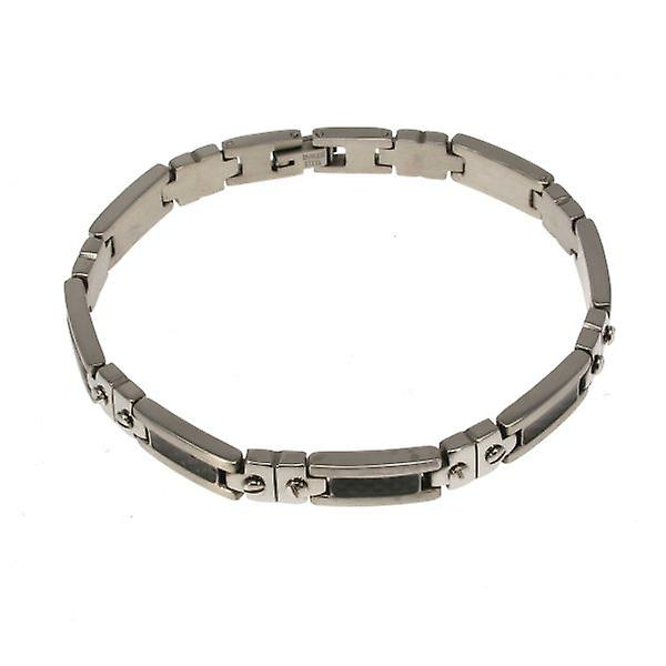 W.A.T Men's Stainless Steel And Carbon Fibre Screw Bracelet
