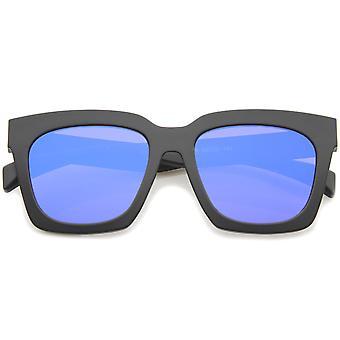 Retro-Matt Horn umrandeten farbige Spiegel flache Linse Oversize Square Sonnenbrillen 54mm