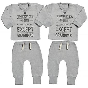 Spoilt Rotten No Place Like Grandmas & Grandpas Sweatshirt & Jersey Trousers Baby Twins Outfit Set