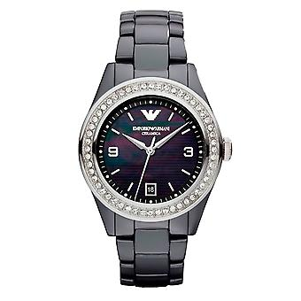 Emporio Armani AR1468 Swarovski Crystal Mother of Pearl Dial & Black Ceramica Ladies Watch