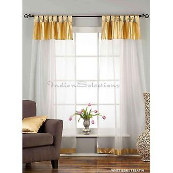 Weiß mit Gold Satin Tab Top schiere Gewebe Vorhang / drapieren / Panel-84