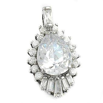 Noble glitter pendant silver of oval large white cubic zirconia rhodium-plated Silver 925