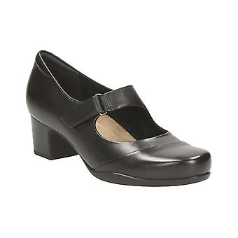 Clarks Rosalyn Wren - Black Leather Womens Heels Various