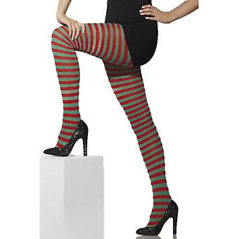 Smiffys Opaque Tights Red & Green Striped (Costumes)