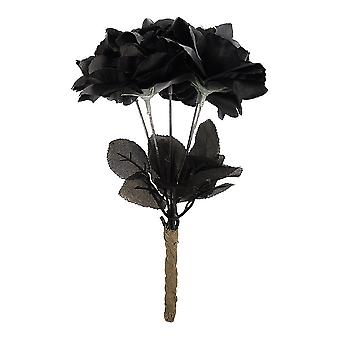 Black Roses Flower Bouquet Halloween Fancy Dress Gothic Accessory