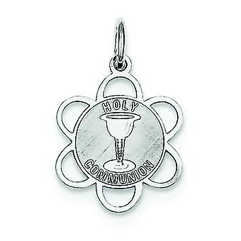 Sterling Silver Solid Engravable Laser Etched Holy Communion Disc Charm - .5 Grams