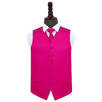 Hot Pink Plain Satin Wedding Waistcoat & Tie Set