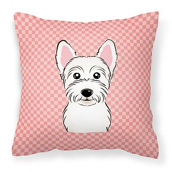 Checkerboard Pink Westie Canvas Fabric Decorative Pillow
