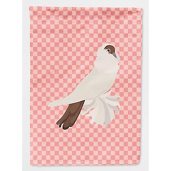 Carolines Treasures  BB7944GF German Helmet Pigeon Pink Check Flag Garden Size