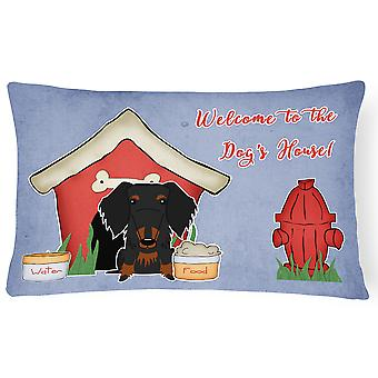 Dog House Collection Wire Haired Dachshund Black Tan Canvas Fabric Decorative Pi