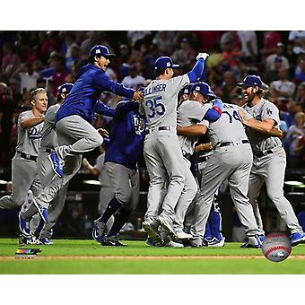 The Los Angeles Dodgers celebrate winning Game 3 of the 2017 National League Division Series Photo Print