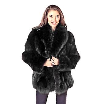 Womens Sculptured Fox Fur Jacket Black 25