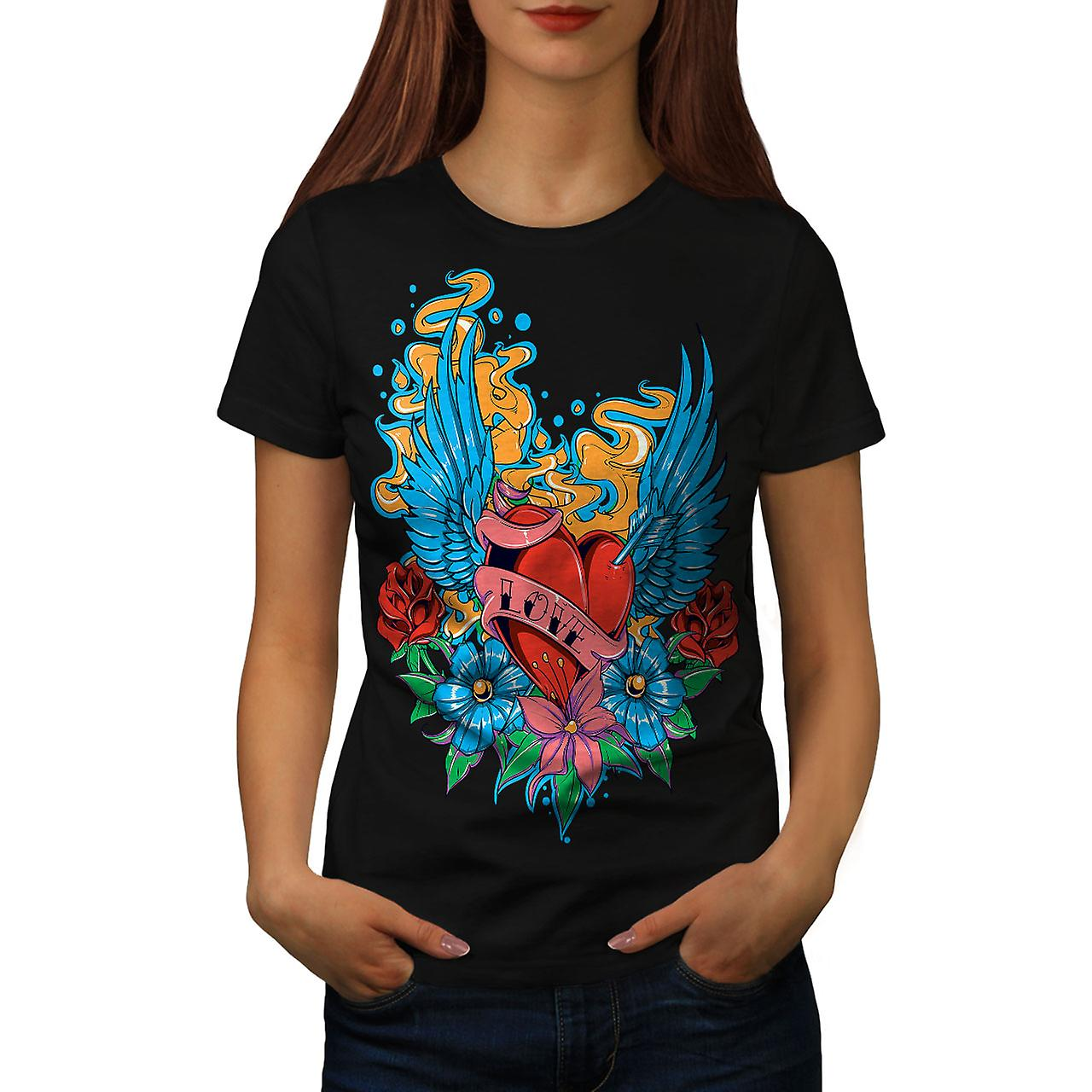 Love Rose Flower Fashion Women Black T-shirt | Wellcoda
