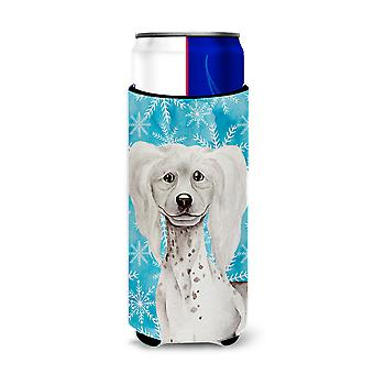 Chinese Crested Winter Michelob Ultra Hugger for slim cans