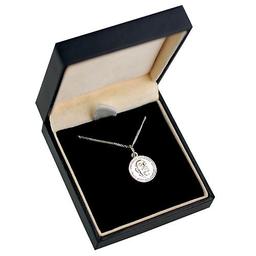 9ct White Gold 14mm round St Pardre Pio pendant with Curb chain