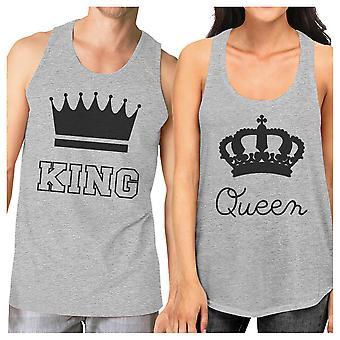Roi et Reine correspondance Couple débardeurs gris pour les cadeaux Couples